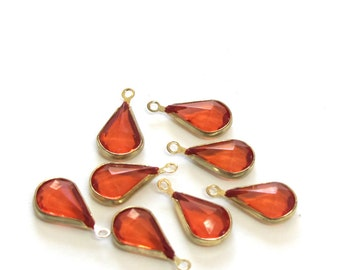 Gold Plated Frame Ruby Red Faceted Glass 9mm x 17mm Cute Drop Dangles/Charms, Set of 8, 1039-34