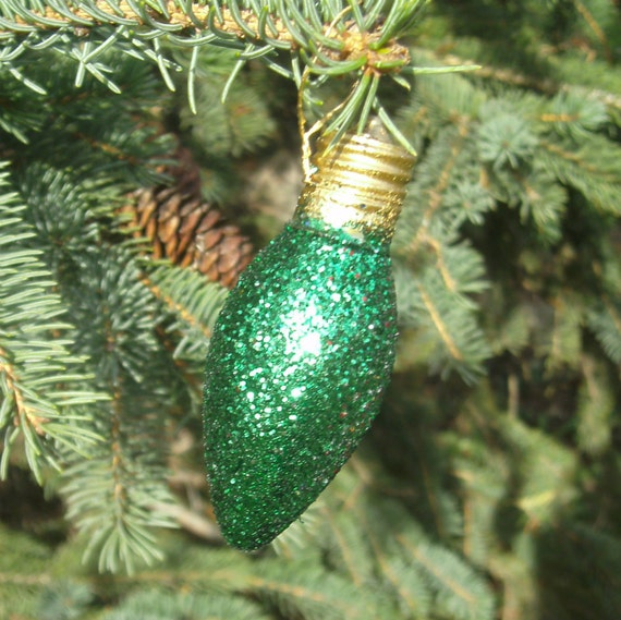 Glitter Light Bulb Ornament - Christmas Ornament - Green Sugar Plum ...