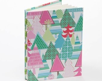 Christmas journal, notebook, Christmas tree, stocking stuffer, mint and pink