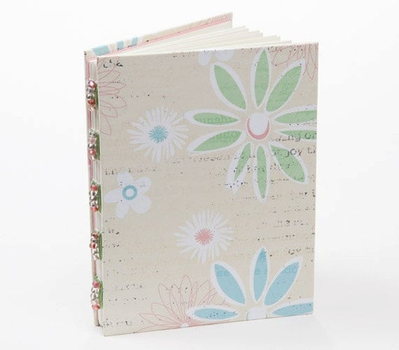 Small notebook/journal, unlined, green and blue flowers