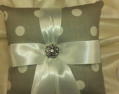 POLKA DOT  PILLOW ringbearer Grey and White Polka Dot with White Ribbon and Rhinestone Accent- Gray or Your Choice of Ribbon Color
