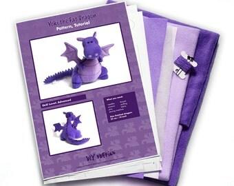 Yoki the Dragon sewing craft KIT diy - purple