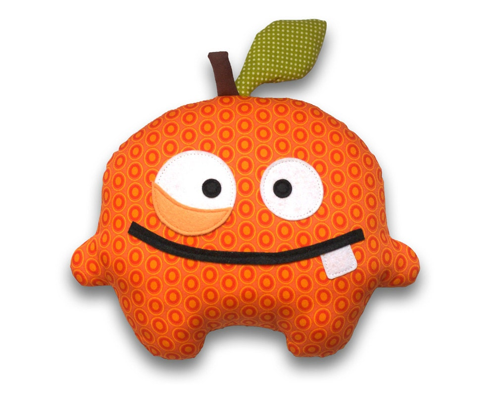 Plush Food Toys : Orrico the orange easy sewing pattern pdf stuffed food toy