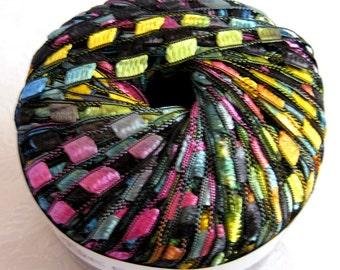 Berlini Ladder Ribbon Yarn Maxi, rainbow jewel tones, wide ribbon yarn, trellis yarn, PAINTBOX 96