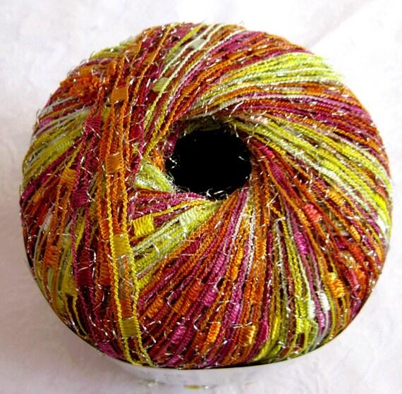 Ladder Ribbon glitter yarn, Tropical Burst, yellow orange pink red trellis railroad yarn, metallic sparkle, 98