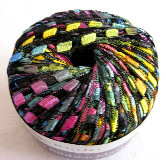 Berlini Ladder Ribbon Yarn Maxi, rainbow jewel tones, wide ribbon yarn, trellis yarn, PAINTBOX 96