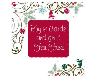 Four (4) Christmas Cards for the Price of 3 - Set of Four Christmas Cards, Customer's Choice