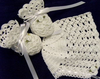 Crochet White Lace Roses Bonnet and Booties Newborn Baby for Christening, Blessing, Baptism