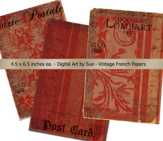 SALE Instant Download   Vintage French  Paper Pack -  U Print Digital Download Collage Sheet