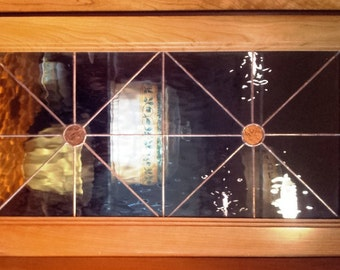 Stained glass Cabinet Inserts - Copper Van Gogh (CI-12)