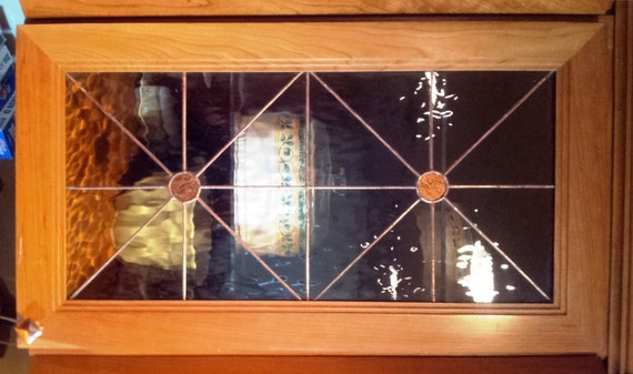 Stained glass Cabinet Inserts Copper Van by TerrazaStainedGlass