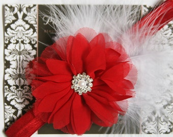 Baby Christmas Headband - Baby Red And White Headband - Baby Holiday Feather Headband - Baby Photo Prop