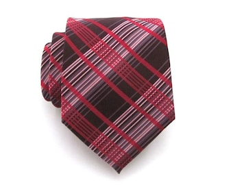 Mens Tie - Red and Brown Plaid Silk Necktie