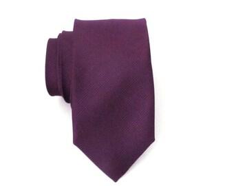 Mens Ties. Eggplant Purple Tone on Tone Stripe Skinny Necktie