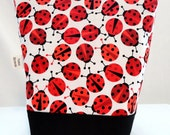Insulated Lunch Bag - Red, Black & White Ladybug