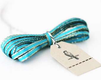 Turquoise Sparkle Satin Twine Ribbon 5 yards