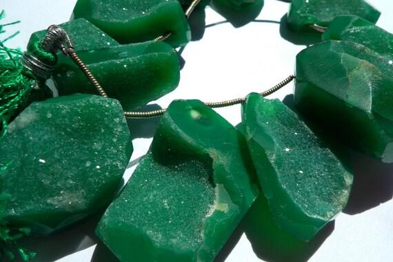 green druzy beads by BrazilianRocks