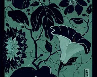 GARDEN VARIETIES 4, Botanical Zen Garden, Original Digital Drawing printed on Rice Paper, in 8x10 black or white mat, Ready to Frame