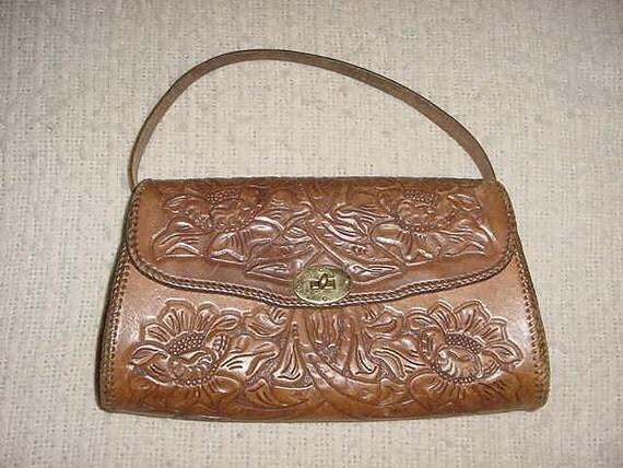Vintage 60s Brown Hand Tooled Leather Purse Flowers Tourist Kit
