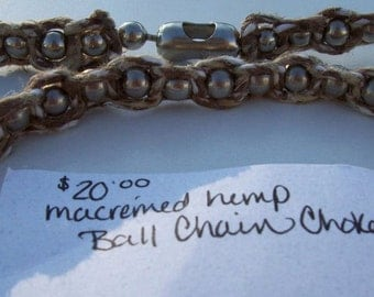Macremed Hemp Ball Chain Choker