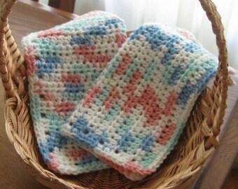Crochet Cotton Dishcloth Set of Two Multi Color