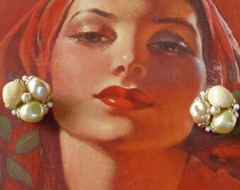 Vintage Cream and White Beaded Earrings