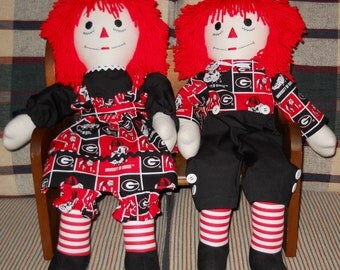 25 inch Georgia Bulldogs Raggedy Ann and Andy Dolls