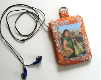 Orange ipod and ID badge holder ready to ship