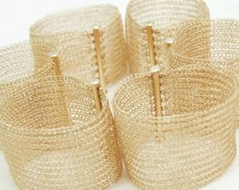 Crocheted gold bracelet , bridal cuff , bridal bracelet , Bridesmaid gift, bridesmaid bracelet, handmade cuff bracelet
