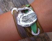Peacock Feather Jewelry, Bohemian Jewelry, Silk Wrap Bracelet, Bohemian Style Fashion, STERLING Silver Silk Ribbon Bracelet in Green n Brown