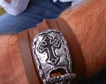 Cross Jewelry, Sterling Silver Cross, Men's Leather Wrap, Leather Wrap Bracelet, Mens Leather Jewelry, Dad Bracelet Fathers Day Gift for Him