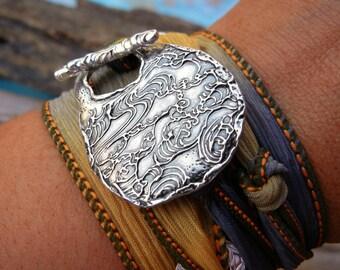 Silk Wrap Bracelet, Bracelet, Sterling Silver Wrap Bracelet, Silver Silk Wrap Bracelet in Sterling Silver