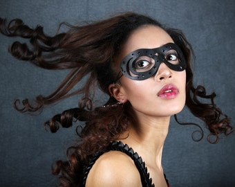 Moon and Stars Leather mask in black