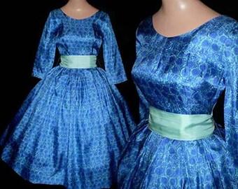 Vintage 50s Full Skirt Dress Blue Carnations Jonathan Logan  XS S