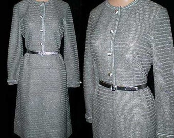 Vintage 60s Silver Kimberly Knit Dress S M