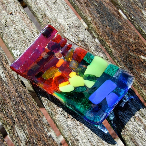 Rainbow Jewelry Holder Fused Glass Trinket Dish, Catch-all, Ring Holder