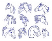 Horses Instant Download Machine Embroidery Designs Horse Heads Set of 10 Size 4x4 Redwork