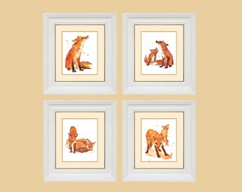 Watercolor FOX Prints,  fox, fox art,
