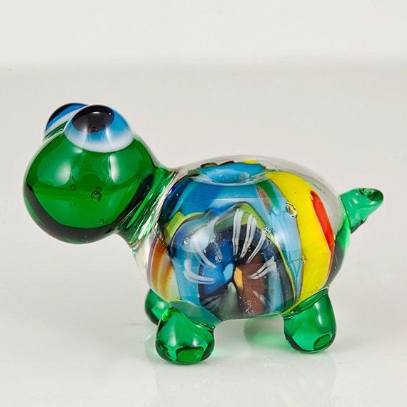 Colorful Green Turtle Lampwork Glass Bead
