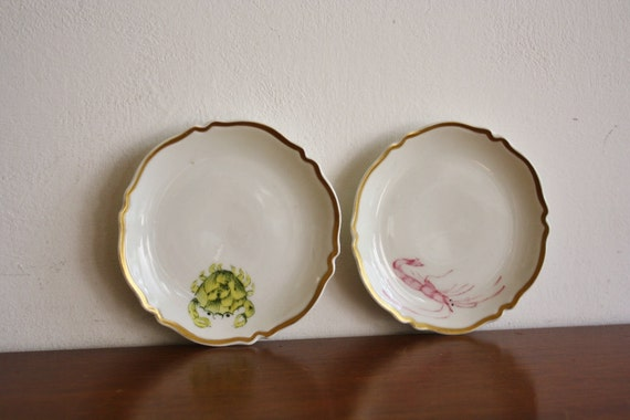 Vintage pair of French handpainted dishes