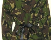 Ladies Vintage Camo Jacket Shirt Military Army DPM Soldier Cinch-up Sash DIY Recycled Plus Size