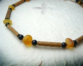 Hazelwood Baltic Amber Necklace with Onyx - Helps teething and eczema for children and babies