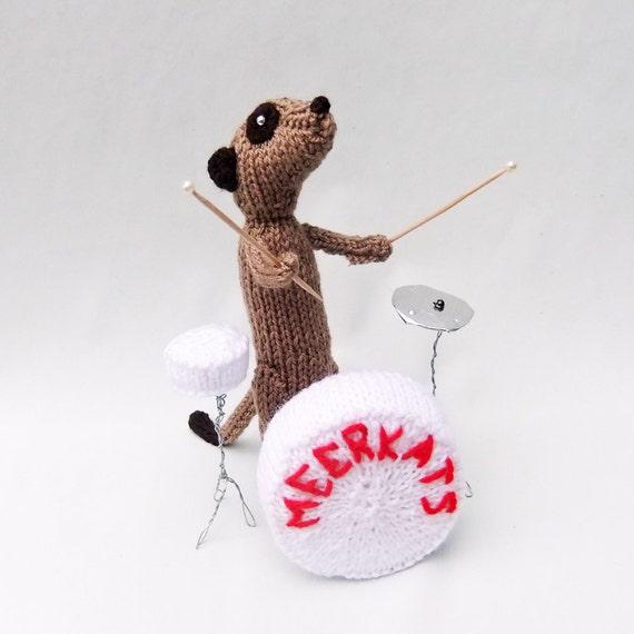 Meerkat drummer, knitted drumkit, musician meerkat, percussion, percussionist