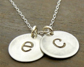 Two Letter Lowercase Typewriter Style Hand Stamped Charm Necklace, Sterling Silver Chelsea Duo by E. Ria Designs