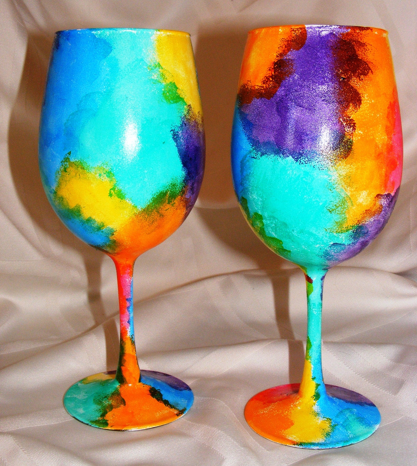 Hand painted 39 tie dye 39 wine glasses one pair for Painted wine glasses