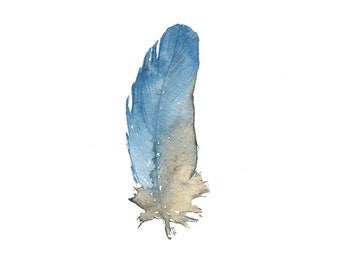 Sky Blue Feather - archival print of watercolor painting, 4 X 6 inches