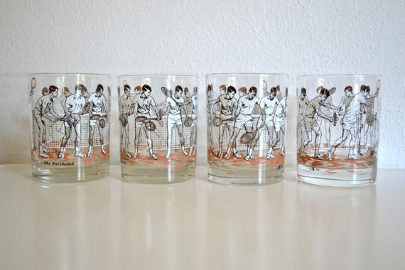 """Lowball Tennis Glasses by Cora (Set of 4) - """"The Forehand"""""""