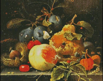 FRUITS And NUTS On The TABLE  cross stitch pattern No.675