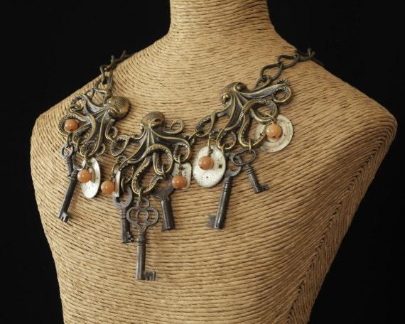 3 octopus skeleton key steampunk jewelry necklace- on American Idol - unlocked secrets from beneath the sea