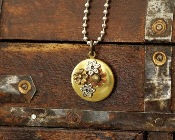 Bohemian Locket Necklace, Nature Inspired, Boho, Woodland Locket, Hippie, Silver Brass Copper Flowers, Steampunk, OOAK, One of a Kind